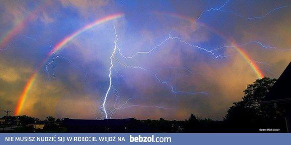 Niesamowite zdjęcie - burza, tęcza, piorun | bebzol.com