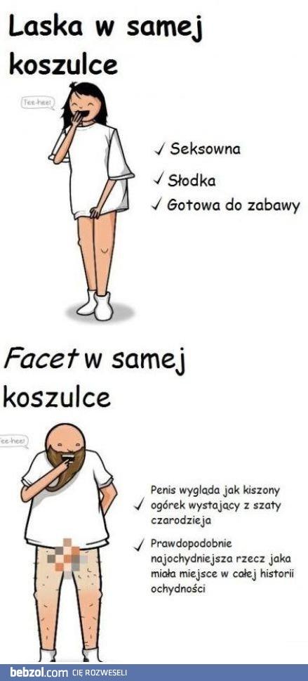 cb08aea4351c21 W samej koszulce - kobieta vs mężczyzna | bebzol.com